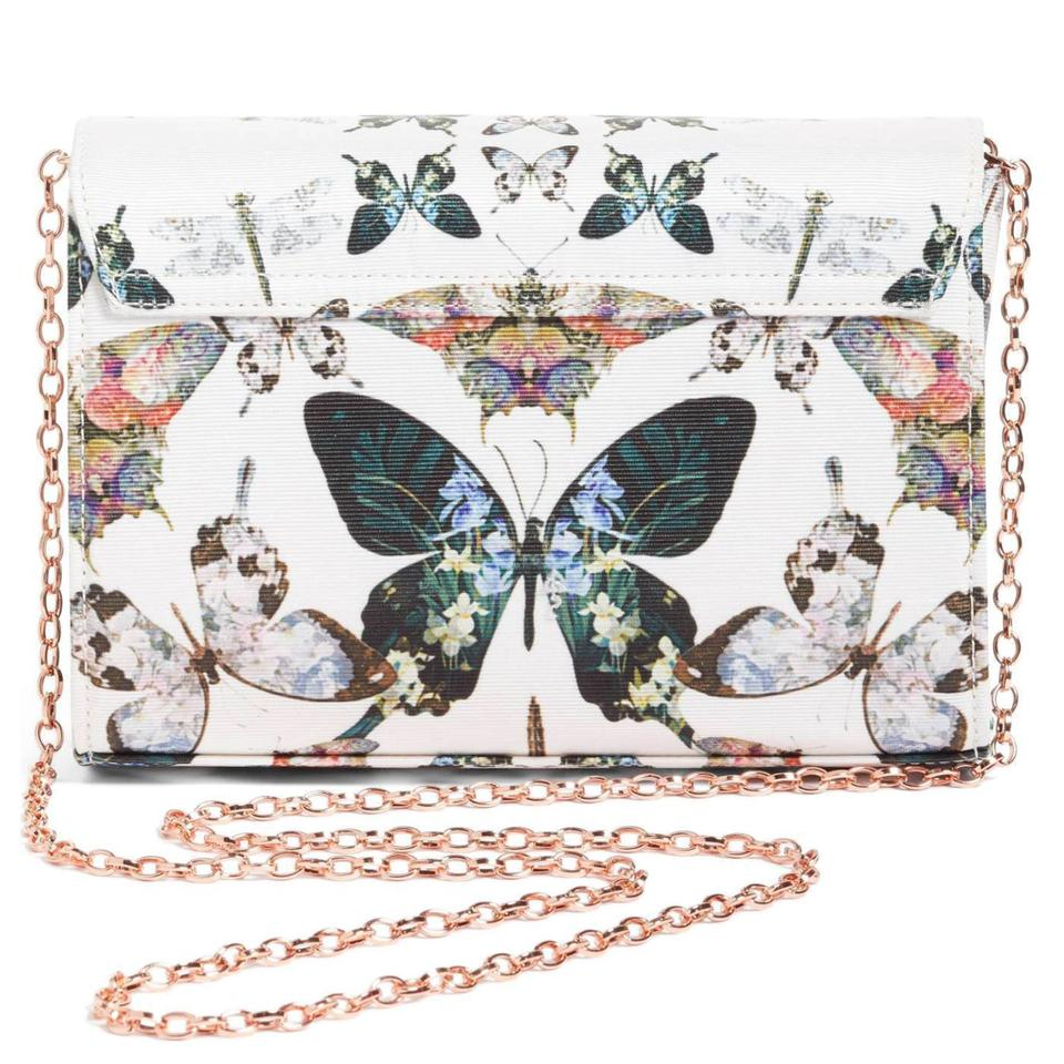 76554f2e29a9a Ted Baker Strisa Butterfly Print Evening Strisa Cream Textile Clutch ...