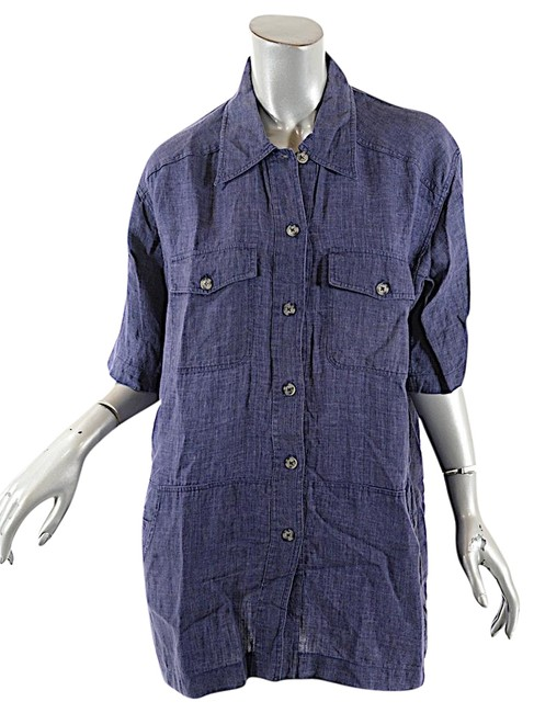 Preload https://img-static.tradesy.com/item/22879967/blue-chambray-linen-collared-shirt-tunic-w-pockets-blouse-size-10-m-0-1-650-650.jpg