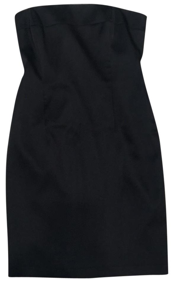 Laundry By Shelli Segal Black Strapless Stretch Satin Mid Length