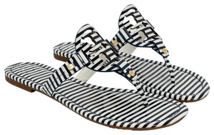 213c1c5631a59 Tory Burch 190041453603 37210 NAUTICAL STRIPES SMALL NAVY SEA WHITE Sandals  - item med img