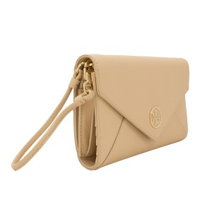 Tory Burch Leather Robinson Envelope Clutch 190041276813 Wristlet in Toasted Wheat