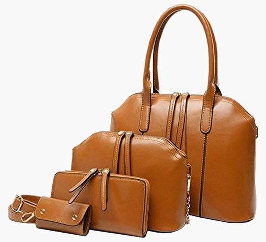 BG Hands Ladies Hand Clutches Design Women 4 Pieces Leatherette Shoulder Bag