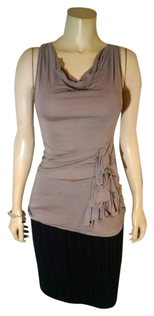 Neofol Size Small Cowl Neck Stretch Sleeveless Summer P1341 Top beige