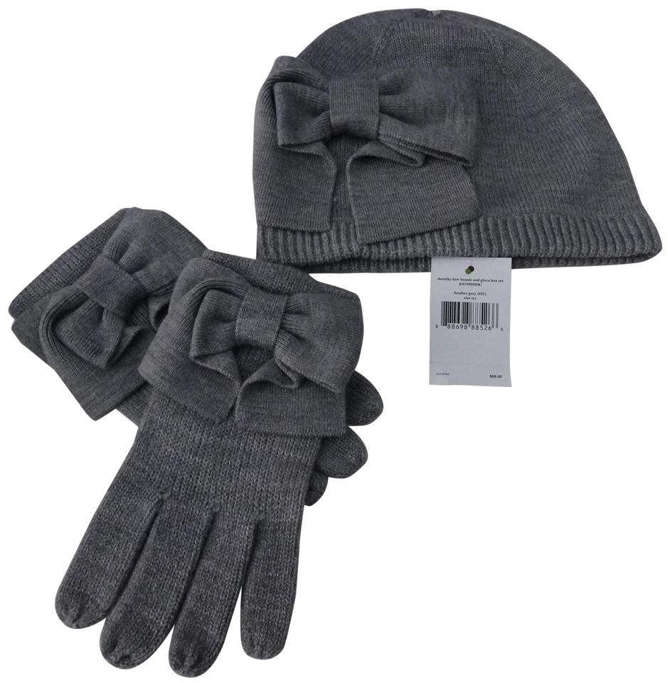 5f223652ff7a0 Kate Spade Heather Grey Dorothy Bow Beanie and Gloves Gift Set Hat ...
