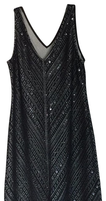 Item - Black Sequin Gown V-neck Knit Gown Long Formal Dress Size 14 (L)