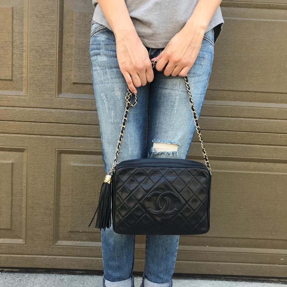 33a7dce9ea62ae Chanel Camera Case Vintage Quilted Leather Tassel Large Black ...