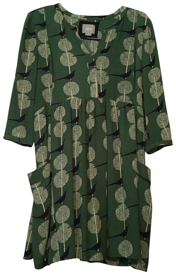 6e0ac77e6a4d3 Anthropologie short dress Green with black birds and white flowers on  Tradesy Image 0 ...