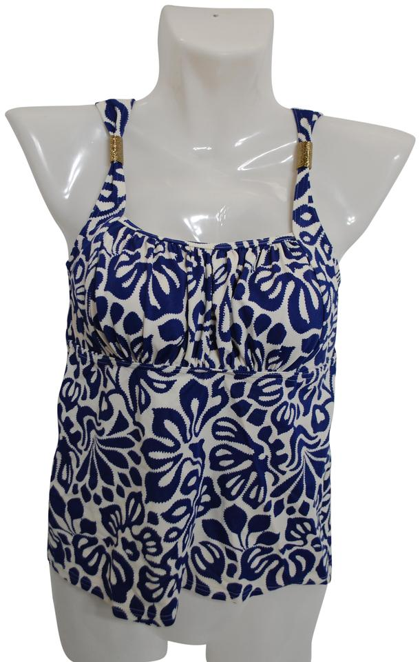 a231d4d1a4fee Lands' End NWOT Lands' End Blue & White Tankini Top Built In Bra Size ...
