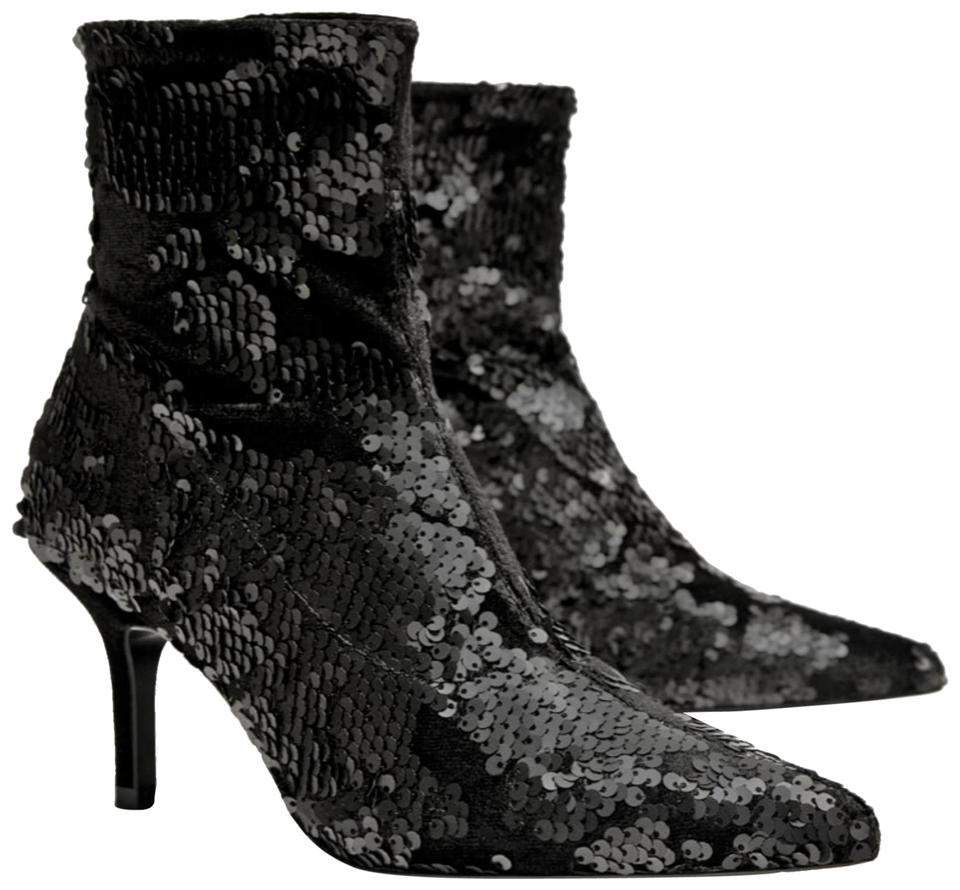 eed4dd3dd5c Zara Black Sequins Velvet Ankle Boots/Booties Size US 6.5 Regular (M, B)