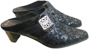 Brighton Embroidered Buckle Silver Hardware Embellished Brocade black Mules
