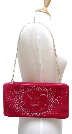 Chanel Swarovski Satin Crystals Camellia Evening Fuchsia Clutch