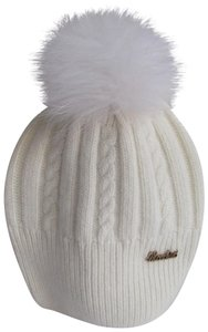 Moschino Moschino Wool Hat w/Raccoon Fur Pom Cream