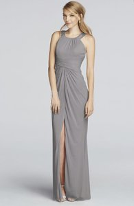 David's Bridal Mercury Grey Mesh Beaded F17093 Formal Bridesmaid/Mob Dress Size 10 (M)