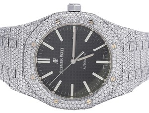 Audemars Piguet Mens 41MM Royal Oak Stainless Steel VS Diamond Watch 31.5 Ct