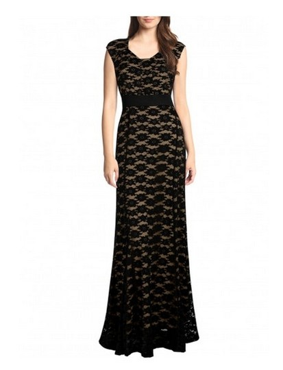 Miusol Black 90%polyester10%spandex Evening Lace Gown Formal Dress Size 12 (L)