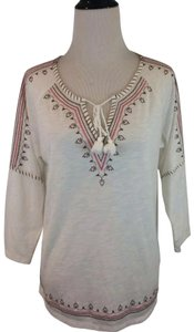 P.J. Salvage Embroidered Tunic Tie Polyester Medium Top Cream white pink brown