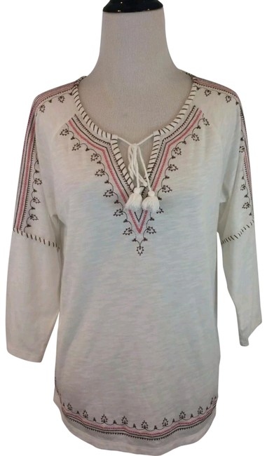 Preload https://img-static.tradesy.com/item/22881757/pj-salvage-cream-white-pink-brown-polyester-blend-tunic-tie-front-embroidered-medium-cotton-shirt-ta-0-1-650-650.jpg