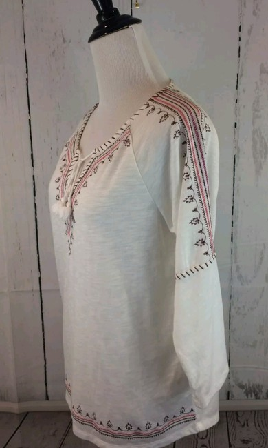 P.J. Salvage Embroidered Tunic Tie Polyester Medium Top Cream white pink brown Image 1