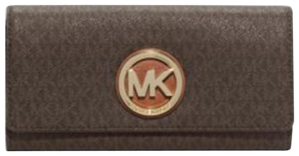 ec6f58e42f37fe Michael Kors Brown Carryall Fulton Clutch Mk Logo Signature Pvc Flap Wallet