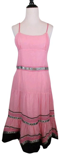 Item - Pink Black Silver Adjustable Spaghetti Strap Sequin Long Night Out Dress Size 10 (M)