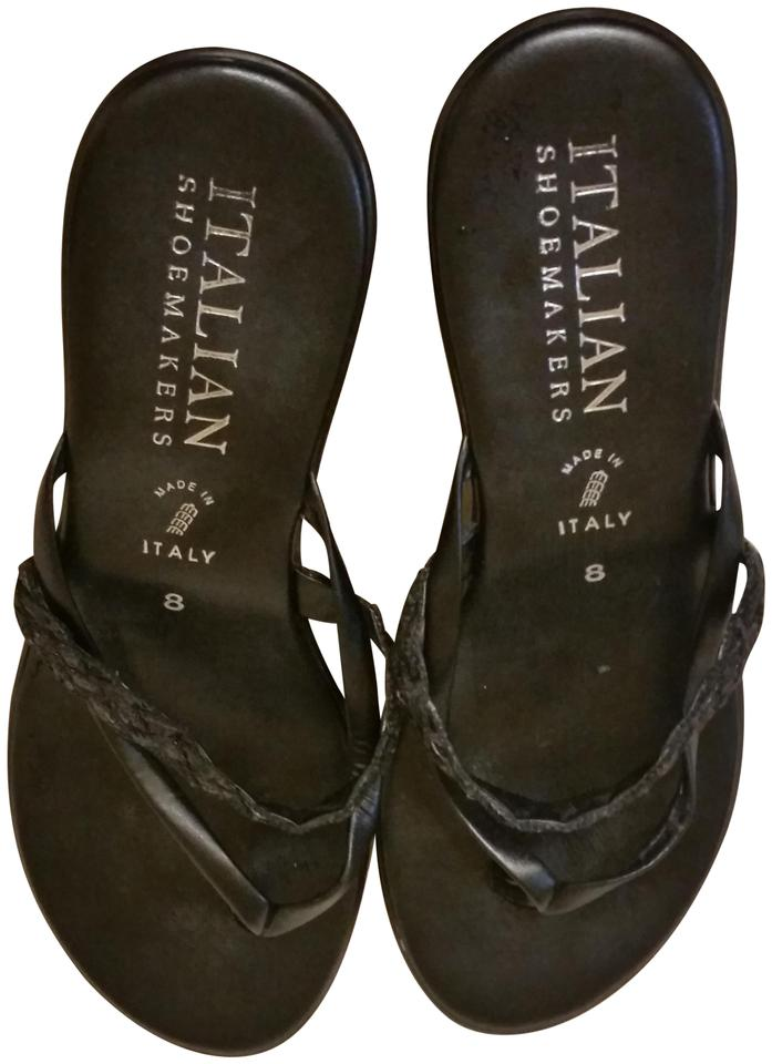c77081f5f Italian Shoemakers Made In Italy Low Heel Black Sandals Image 0 ...