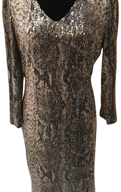 Preload https://img-static.tradesy.com/item/22881859/colleen-lopez-tan-and-brown-sequin-snake-mid-length-cocktail-dress-size-12-l-0-1-650-650.jpg