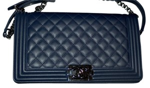 Chanel Boy Navy New Medium Flap Boy Shoulder Bag