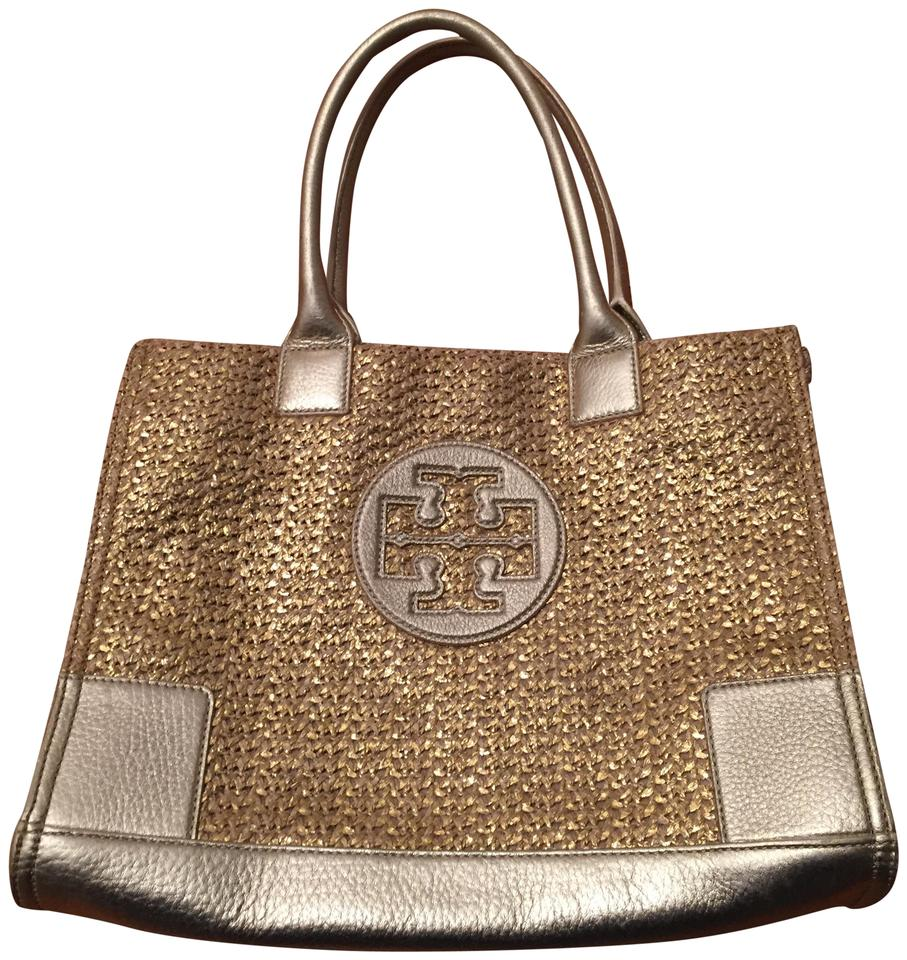 Tory Burch Ella Woven Gold Leather And Straw Beach Bag