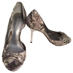 ALDO Grey Snakeskin Pumps