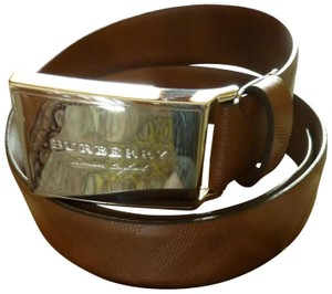 "Burberry $325 BURBERRY Men's ""George"" Embossed Brown Leather Logo Buckle Belt"