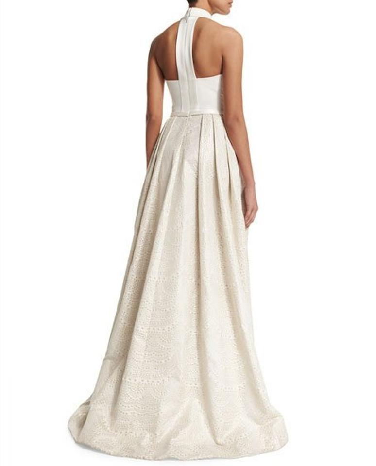 Neiman Marcus White/Ivory and Gold Theia High/Low Jacquard Gown Long ...