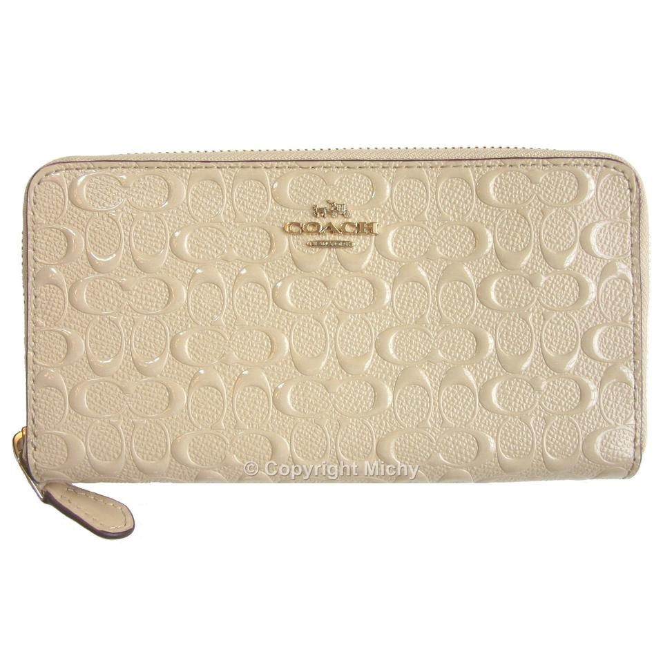8c5343662fdc Coach Coach Signature Debossed Patent Leather F54805 Accordion Zip Wallet  Image 7. 12345678. 1 ∕ 8