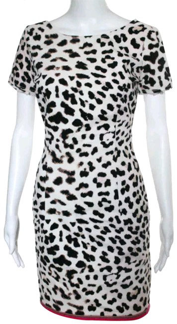 Item - Cream Leopard Black Red Trim White Cotton Sheath Animal S Mid-length Night Out Dress Size 4 (S)