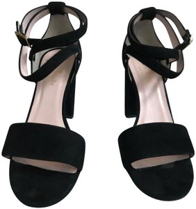 Kate Spade Suede Chunk Chunky black Sandals