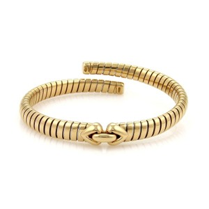 BVLGARI Bulgari 18K Yellow Gold Tubogas Hearts Open Flex Band Bracelet