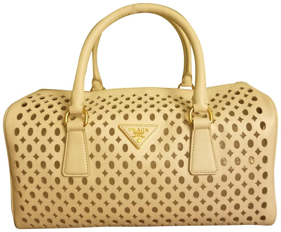 98d100b61d01 Prada Saffiano Perforated Beige Cosmetics Pouch Tote in White Image 0 ...