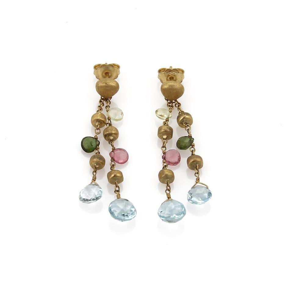 Marco Bicego Paradise 18k Ygold Multicolor Gems Double Strand Dangle Earrings