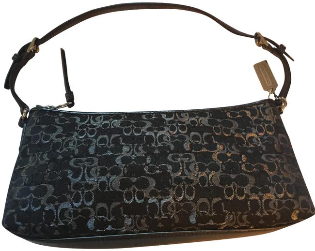 Item - Black with Silver Thread Leather and Monogram Canvas Baguette