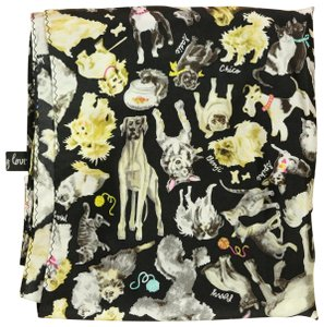 Sydney Love Gold White Cats and Dogs Adorable 100% Silk Scarf