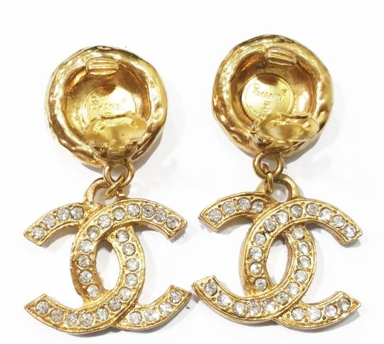 Chanel Authentic Vintage Chanel Rare Rhinestone 18K Gold Plated CC Dangle Clip on Earrings