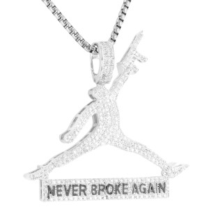 Master Of Bling Basketball Jumpman Dunk with Gun Pendant Free Box Chain