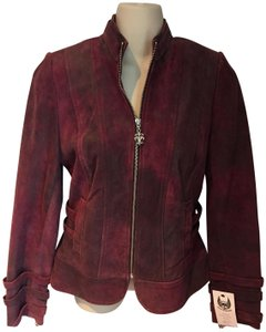 Royal Underground Moto burgundy Leather Jacket