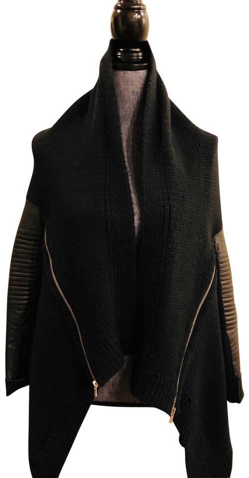 Black Maje Moto Sleeve Leather Sweater Wool Pullover and TwRzq
