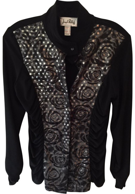 Item - Black and Silver Zip Up Cardigan Size 8 (M)