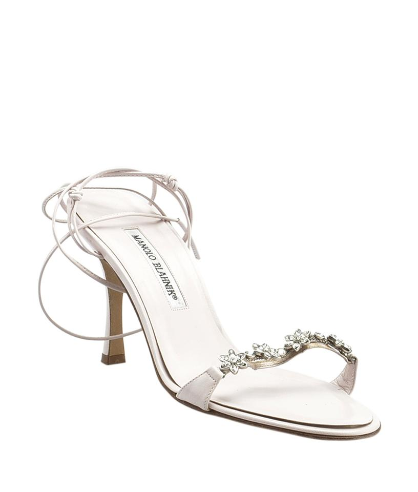 76c0e00d1d3 Manolo Blahnik Light Pink Two-piece Embellished Sandals Size EU 38.5  (Approx. US 8.5) Regular (M, B)