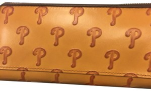 Dooney & Bourke Baseball Leather Embossed Cognac Clutch