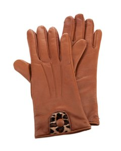 Portolano Portolano TOBACCO Butter Soft Pony Hair & Leather Gloves (Sz - 7.5 )