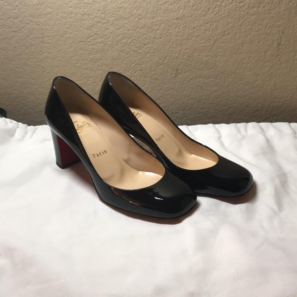 reputable site 4060c 86bb9 Christian Louboutin Black Cadrilla Patent Block-heel Red Sole Pumps Size US  5.5 Regular (M, B) 34% off retail