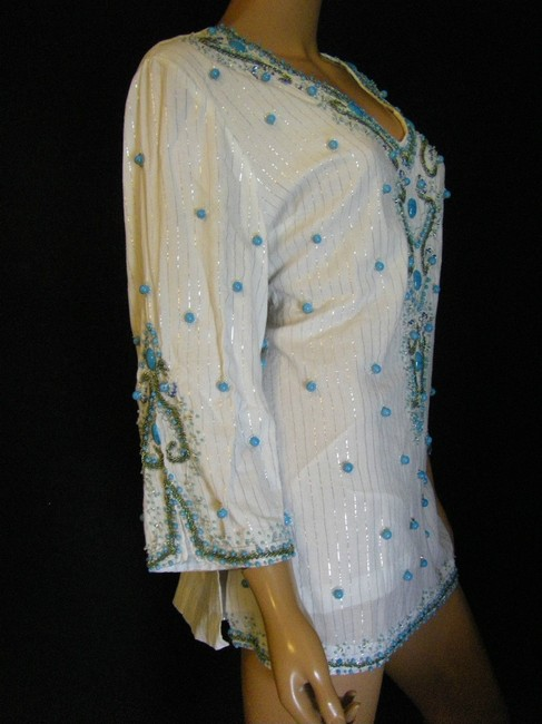BOSTON PROPER Stunning Turquoise Baubles Lavishly Beaded Boho Nwt Still In The Cellophane Package Tunic