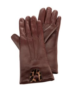 Portolano Portolano CHESTNUT Butter Soft Pony Hair & Leather Gloves ( Sz. 7 )